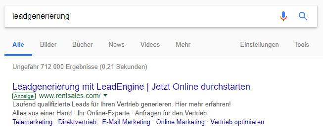 SEA - Suchmaschinenwerbung mit GoogleAds, Anzeige in Suchergebnissen